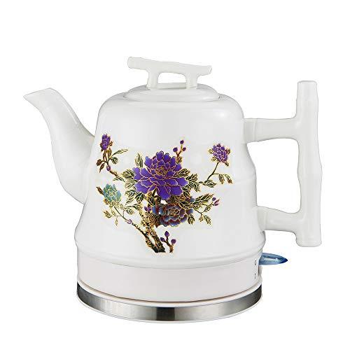 SONGYANG Wasserkocher Elektrische Keramik Weißer Wasserkocher Teekanne-Retro Automatische Abschaltung Ruhiges schnelles Kochen für Kaffee, Tee, Suppe 1.2L 1200W,Purple (Tee-und Wasserkocher Ruhigen)