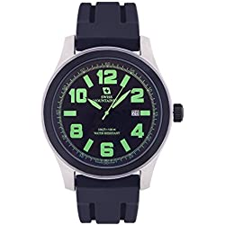 Swiss Mountaineer Mens Watch Black Silicone Rubber Band Easy Read Dial Green Numerals Date SM8042
