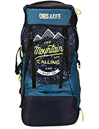 Chris & Kate 50 LTR Blue Rucksack Backpack for Hiking, Trekking, Travel with Shoe Compartment for Men and Women
