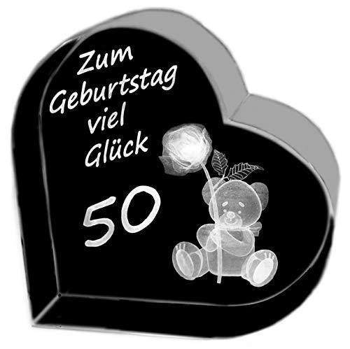 Kaltner präsente idea regalo – cuore in vetro: cristallo con incisione 3d al laser, teddy rose/compleanno buona fortuna 50 anni