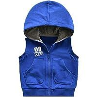 Chaqueta Sin Mangas con Capucha De Punto para Niños Primavera Y Otoño para Niños Y Niñas Blusa De Color Sólido Chaleco De Bebé-100Cm, Azul