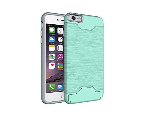 Schutzhülle für Apple iPhone 6 Plus 5.5 Zoll aufstellbares Hardcase mit Kartenfach Schutzcover (Schwarz) Grün