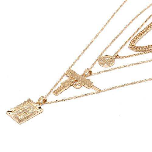 Schmuck,Trada Religiöse Art Multi Kette Halskette Kreuz Jungfrau Maria Anhänger Halskette für Frauen Schmuck Anhänger Halskette die Religiöse Kettenanhänger für Männer Frauen (Gold)