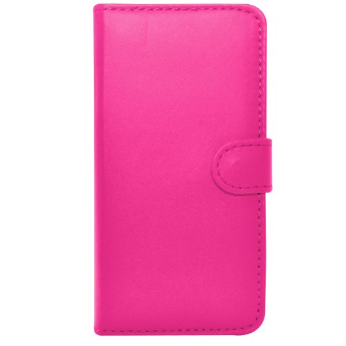 Apple iPhone 4S/4 - Leder Brieftasche Tasche Buch + 2 in 1 Stylus Pen + Screen Protector & Poliertuch ( Blue ) Hot Pink