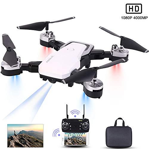 Drone con Telecamera, Mini Drone con 4K 1080P HD FPV Wi-Fi per Video, Headless Mode/Manutenzione dell'altitudine/Pianificazione delle Rotta di Volo/Gesture Foto, Adatto a Principianti(Bianco)
