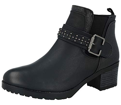 Shoes By Emma Ladies Black Faux Leather Fashion Mid Block Heel Stud Buckle Zip Fastening Chelsea Biker Ankle Boots Size 4-8