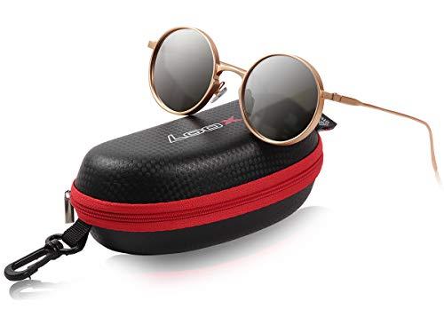 Loox Retro Sonnenbrille Nerd-Style - Vintage - Verspiegelt Farbe: Gold 'London' - Uv-Schutz 400 - Metall Rahmen, sehr schmale Bügel Damen Herren