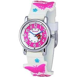 Zeiger Kinderuhr Mädchenuhr Schmetterling Kinder Armbanduhr Rosa Mädchen Lernuhr KW044