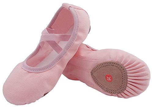 Ballettschuhe Mädchen Ballettschläppchen Ballett Schläppchen Kinder Gymnastikschuhe Damen Ballerina Tanzschuhe mit Geteilte Sohle Pink Gr.25