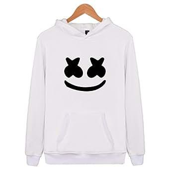SIMYJOY Lovers DJ Marshmello Fans Felpe con Cappuccio Suono Elettrico EDM Cool Hip Pop Pullover per Uomo Donna Teen Bianco 2XS