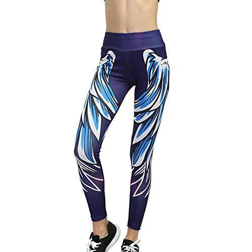 78efef86820d62 Leggings Damen, 3D Federdruck Yoga Hosen Sexy Sporthose Jogginghosen Frauen  Hoch tailliert Laufen Hose Enge und Elastische Hosen Sweathose Gym Fitness  ...
