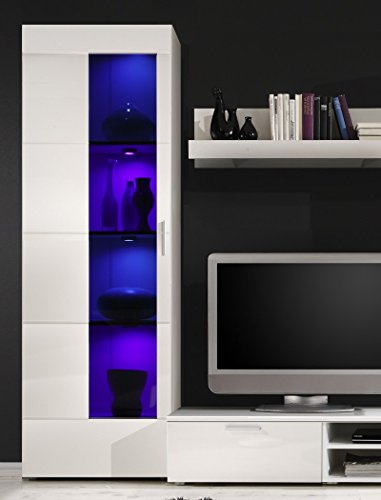 Wohnwand Shane 265x197x47cm Schrankwand Wohnzimmerschrank LED-Beleuchtung, TV-Board, Lowboard, Wandboard, weiß Hochglanz, Schwarzglas - 3