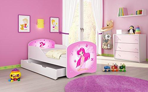 Weiß 7 Schublade (Kinderbett Jugendbett Komplett mit einer Schublade und Matratze Lattenrost Weiß ACMA I (180x80 cm + Bettkasten, 07 Rosa Fee))