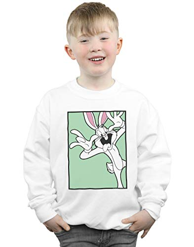 Absolute Cult Looney Tunes Jungen Bugs Bunny Funny Face Sweatshirt Weiß 12-13 Years -