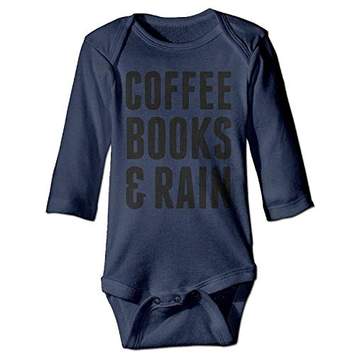 MSGDF Unisex Toddler Bodysuits Coffee Books & Rain Baby Babysuit Long Sleeve Jumpsuit Sunsuit Outfit Navy (Purple Rain Outfit)