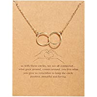 Vembley Stunning Gold Plated Double Circle Ring Pendant Necklace for Women and Girl