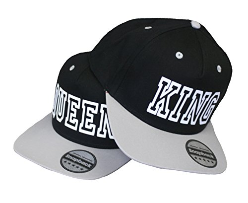 King & Queen Cap Snapback Stylische Pärchen Basecap Partner Look Kappe Grau schw