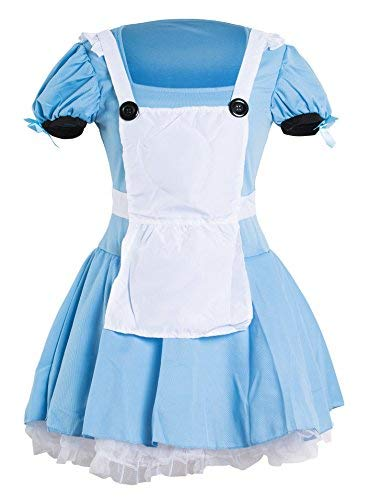 (Sexy Alice Kostüm– Enthält ein blaues Kleid, eine weiße Schürze und einen schwarzen Haarreifen – schickes Kostüm für Halloween- oder Teepartys– Erhältlich in den Größen 34 - 44)