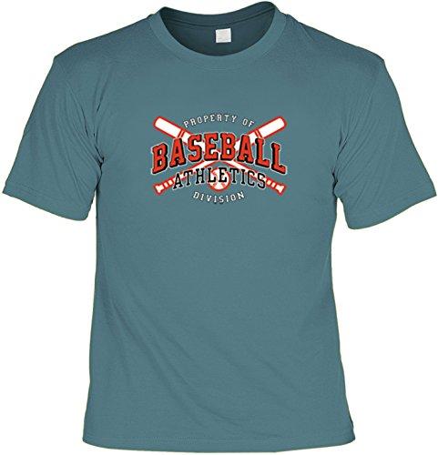 Baseball Shirt /T-Shirt/Baumwoll-Shirt lässiger Sport-Aufdruck: Baseball Athletics - cooles Motiv Steelblue