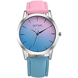HARRYSTORE Women Girl Retro Rainbow Design Watches Leather Band Analog Alloy Quartz Wrist Watch