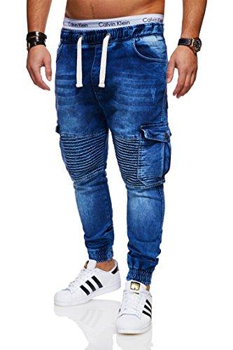 behype. Herren Destroyed Jogg-Jeans Biker Hose 80-2271 Dunkelblau 34
