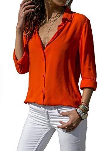 Damen Chifon Blusen V Ausschnitt Mode T-Shirt Oberteil Elegant Hemd Top Langarmshirt Bluse Casual Mode Knopf T-Shirt Tunika (2XL, RD)