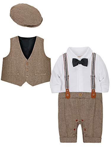 CARETOO Baby Jungen Bekleidungssets 3tlg Strampler + Weste + Hut Fliege Krawatte Gentleman Set Baby Taufe Anzug -