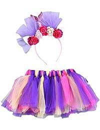 Falda del Tutu para Niña,SHOBDW Pettiskirt Bebé Partido Elasticidad Arco Iris Fluffy Baile De