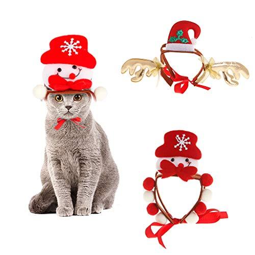 vivianu Haustier-Haarband Kostüm für Weihnachten, Schneemann, Halloween, süßes Hund, Katze, Welpen, Cosplay, Kostüm Kopfschmuck reh/hirsch