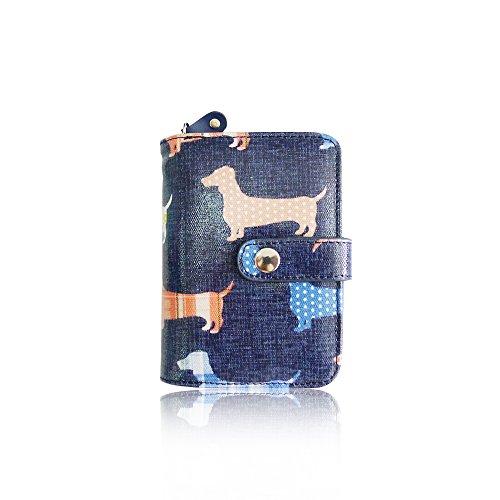Portafogli da ragazza in tela cerata, motivo cane bassotto. Dark Blue Small