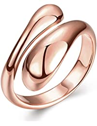 YAZILIND Shiny Jewelry Simple Design Opening Rose Gold Plated Rings for Women Adjustable