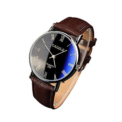 wuayi Herren-Armbanduhr, luxuriös, modisches Kunstleder, Quarzuhr, Analoganzeige, für Weihnachten, Geburtstag, Geschenk