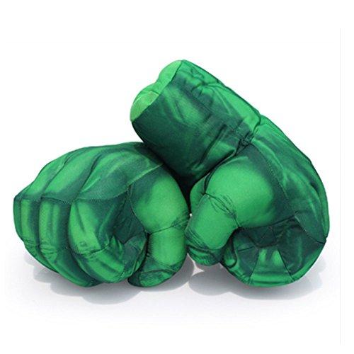 11″ Gants de Boxe Gant Hulk Costume 1 Pair Gants de peluche doux Boxing Gloves Smash Hands Cosplay Hulk jouet ventilation Main Super Héros Jouet Halloween Birthday Gifts for Kids, Teens, Girls & Boys (vert)