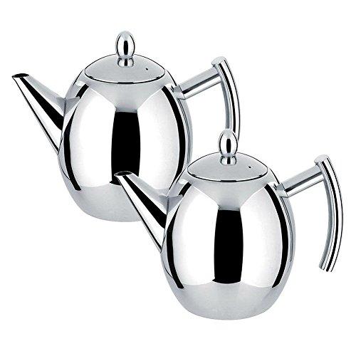 1.5L Théière en acier inoxydable Cafetière en argent avec filtre Infuser Grande capacité (SVP vérifier la théière avec l'eau froide avant de l'utiliser)