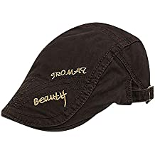 Hombres Algodón Gorra Plana Ajustable Gorra Plana Acolchado Bordado Patín Vendedor de periódicos Gatsby Irish Hat