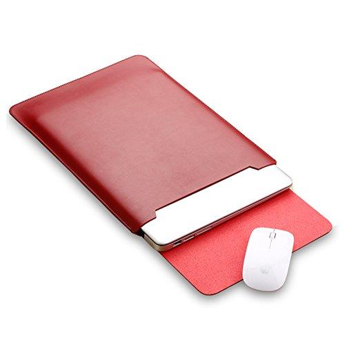 Mikrofaser Leder Laptop Sleeve Slim Case Cover Luxus PU Ledertasche Elagant Schutzhülle integriert Mousepad f. (Macbook 12