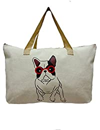 "Linnada Eco Bag, Eco Friendly Tote Bag Natural Color 21.5"" W X14.5 Tx 5""Bottom Gusset (Natural Color Dog Pic)..."