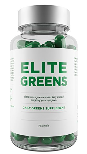 Elite Super Greens Capsules Including Superfoods Chlorella, Spirulina and Wheatgrass - Also Includes Broccoli, Spinach & Ginseng - Promotes Energy, Immune Function, General Health & Well-Being - Vegetarian Capsules Test
