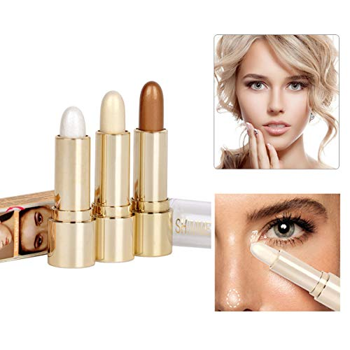 Fancy amor 3colores de subrayador iluminador Facial Maquillaje Sticks Blanqueamiento Crema Shimmer–Polvos Fundación Stick, 0.36oz