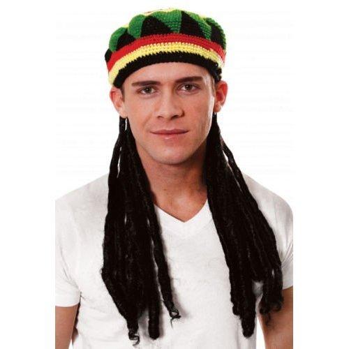ts Knitted Rastafarian Jamaican Rasta Beanie Hat & Dreadlocks Hair ()