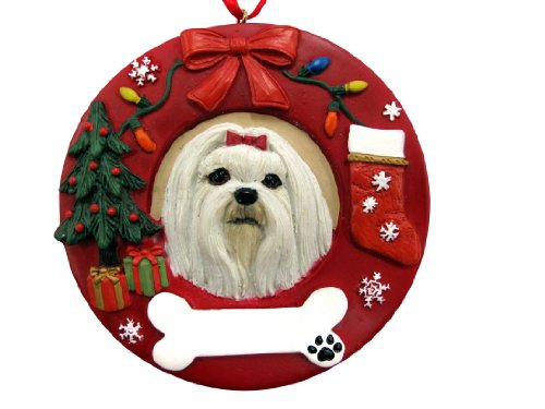 E & S Pets Malteser Personalisierte Weihnachten Ornament -
