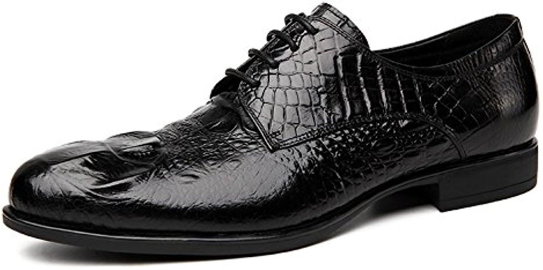 YCGCM Hombres Zapatos De Cuero Inglaterra Apuntado Encaje Negocios Tendencia Transpirable -