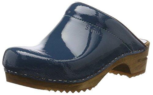 Sanita Damen Classic Patent Open Clogs, Blau (Petrole 17), 40 EU -