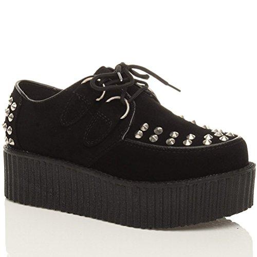 Rebites Senhoras Médio Duplo Planalto Forma Rasa Cordões Sapatos Gote Trepadeiras Do Punk Tamanho Camurça Preta Com