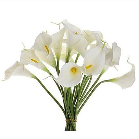 Kolylong Velvet Rose Faux Silk Feuille Artificielle Fleur De Tulipe Et Feuille DéCoration Maison Mariage Accessoire Jeune MariéE Bouquet (30cm/11.8''-10pcs, Blanc)