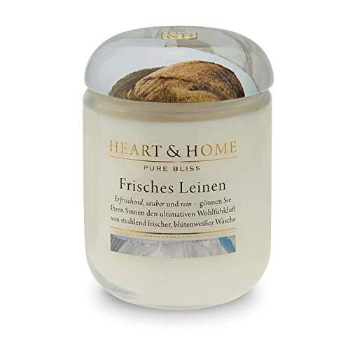 Leinen Duftkerze (Heart & Home Duftkerze Frisches Leinen, leichter Duft nach Veilchen & frischer Wäsche, Sojawachs-Kerze im Glas, brennt bis zu 75 h, vegan, 340 g)