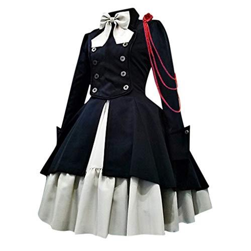 Voicry Mode Frauen Vintage Gothic Court Square Kragen Patchwork Prinzessin Kleid (Schwarz,XXL)
