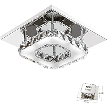 Modern crystal led ceiling light pendant flush lamp stainless steel modern crystal ceiling light square mini ceiling lamp stainless steel for bedroom living room and hallway83x83inch mozeypictures Image collections