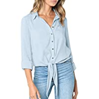 Toasye Damen Casual Solide Crushed Langarm V-Ausschnitt Button-Down Leichte Bandage Shirt Tops Bluse