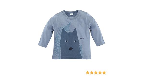 grau mit Wolf Wild Boy Jungen Langarmshirt 100/% Baumwolle lang/ärmlig Pinokio Shirt aus d/ünnem Baumwollstoff
